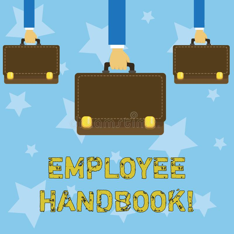 Handschrifttekst het schrijven Werknemershandboek Concept die Document Handverordeningen het Beleidscode betekenen van de Regelsh royalty-vrije illustratie