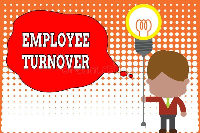 Handschrifttekst het schrijven Werknemersomzet Concept die Aantal of percentage arbeiders betekenen die een organisatie verlaten royalty-vrije illustratie