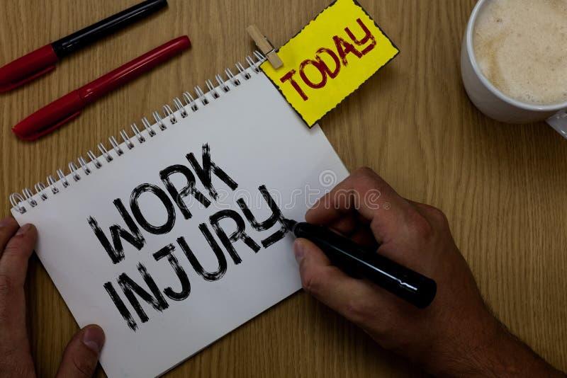Handschrifttekst het schrijven het Werkverwonding Het concept die Ongeval in de voorwaarden van Unsecure van het baangevaar betek stock foto's