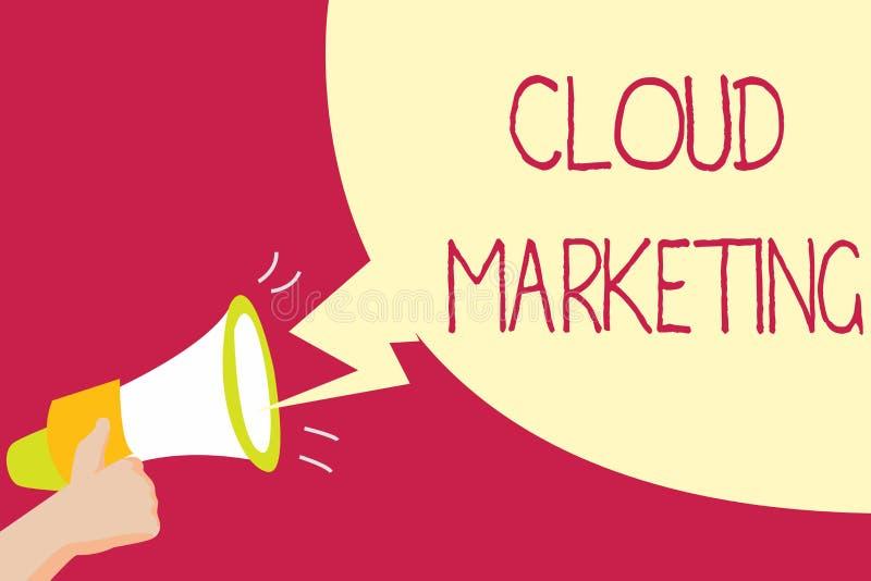 Handschrifttekst het schrijven Wolk Marketing Concept die het proces van een organisatie betekenen om hun diensten op de markt te royalty-vrije illustratie