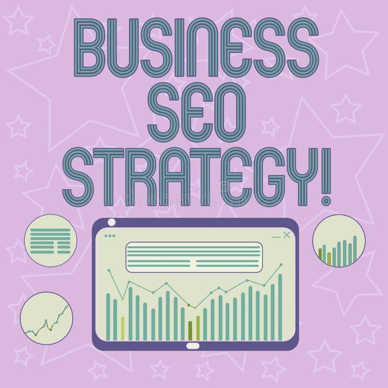 Handschrifttekst het schrijven Zaken Seo Strategy Concept die Optimalisering van website betekenen om toe te nemen het aantal bez vector illustratie
