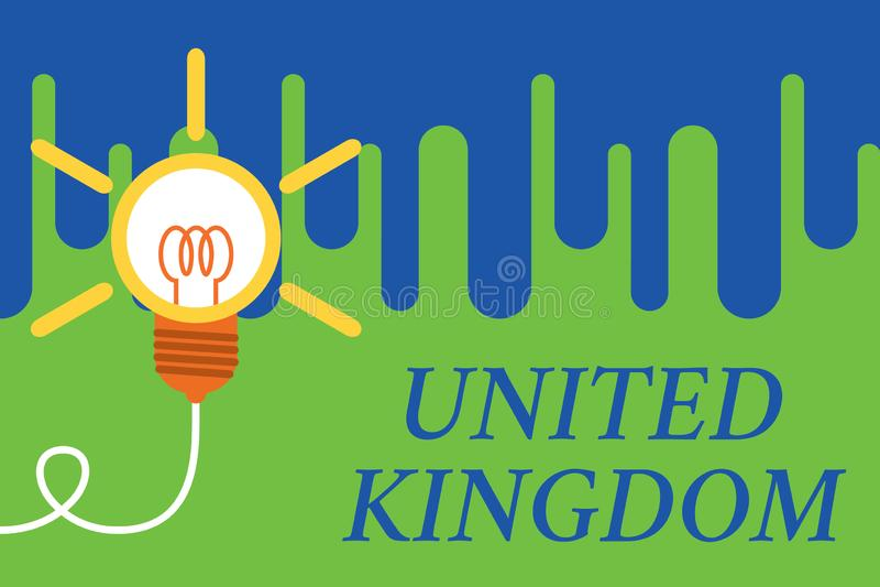 Handschrifttekst het Verenigd Koninkrijk Concept die die Eilandland betekenen van de noordwestelijke kust van het Grote idee van  stock illustratie