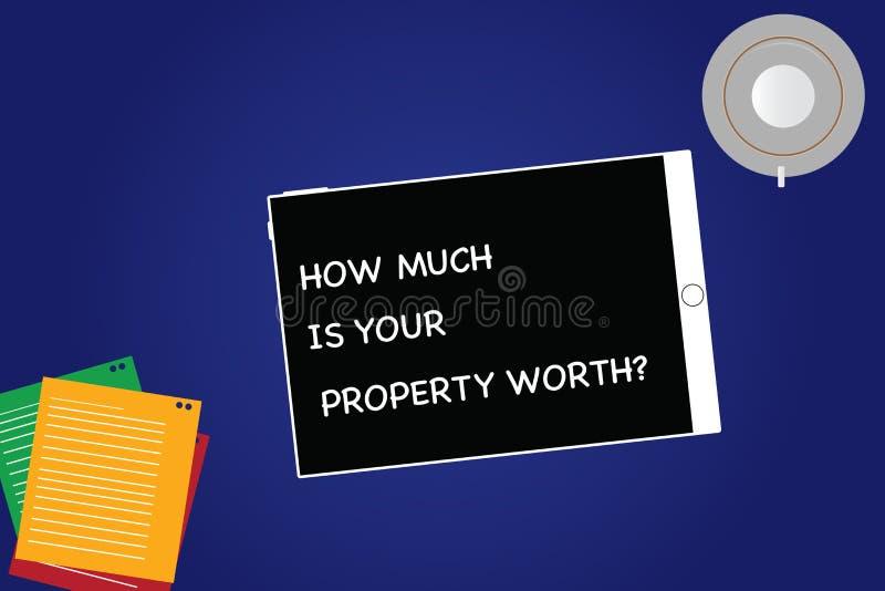 Handschrifttekst hoeveel Uw Bezit Worthquestion is De conceptenbetekenis vestigt de prijs van eigenschappen het Tablet Lege Scher royalty-vrije stock foto's