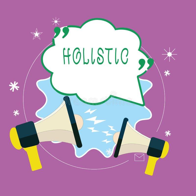 Handschrifttekst Holistic schrijven De conceptenbetekenis kenmerkte geloof dat de delen iets intiem onderling verbonden vector illustratie