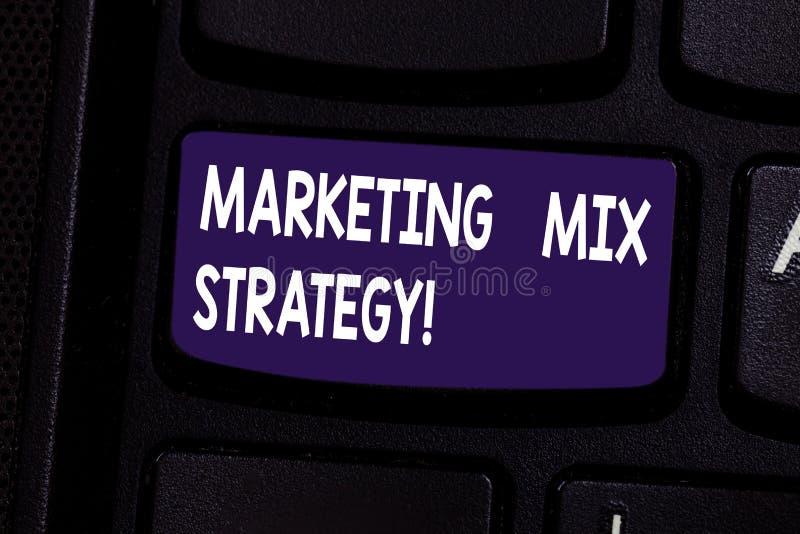 Handschrifttekst Marketing Mengelingsstrategie De Reeks van de conceptenbetekenis van governable tactisch marketing het gebruikst stock foto