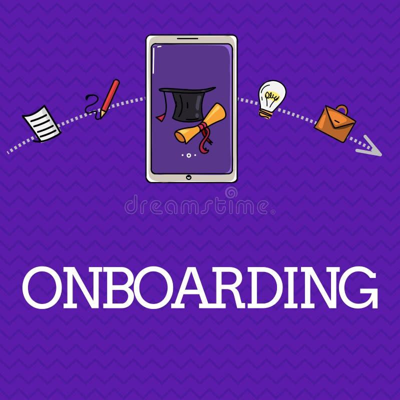 Handschrifttekst Onboarding Concept die Actieproces om een nieuwe werknemer in een organisatie betekenen te integreren stock illustratie