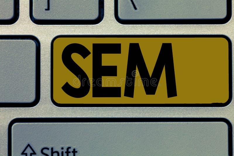 Handschrifttekst Sem Concept die Bevordering van websites betekenen door hun zicht tijdens onderzoek te verhogen royalty-vrije stock afbeeldingen