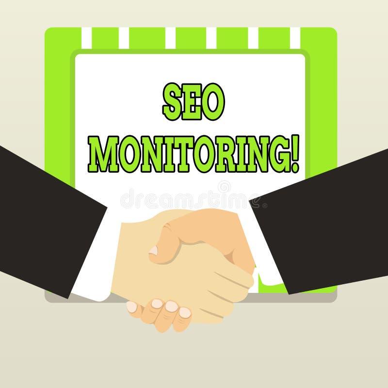 Handschrifttekst Seo Monitoring Concept die het proces om het zicht van uw website betekenen te optimaliseren royalty-vrije illustratie
