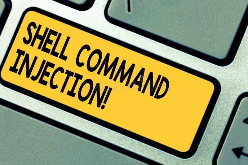 Handschrifttekst Shell Comanalysisd Injection Conceptenbetekenis door hakkers wordt gebruikt om systeem comanalysisds op server u royalty-vrije stock afbeelding
