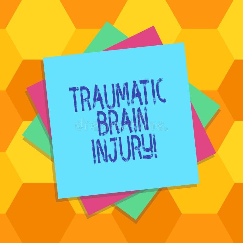 Handschrifttekst Traumatisch Brain Injury De Belediging van de conceptenbetekenis aan de hersenen van een externe mechanische kra stock illustratie
