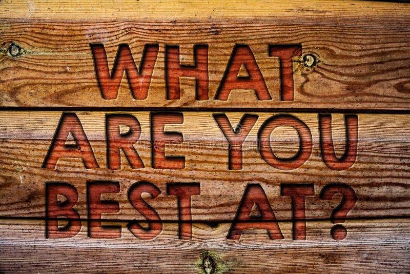 Handschrifttekst wat u Best bij Vraag zijn Het concept die Individuele creativiteit betekenen is een unieke vermogens Houten acht stock afbeelding