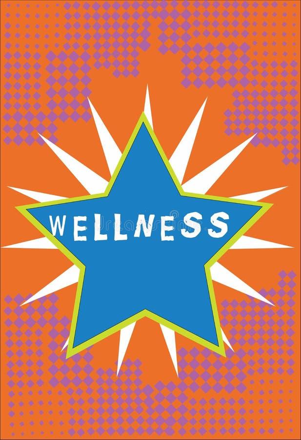 Handschrifttekst Wellness Concept die staat van het zijn in goede gezondheid betekenen vooral als actief nagestreefd Gegrenst doe stock illustratie