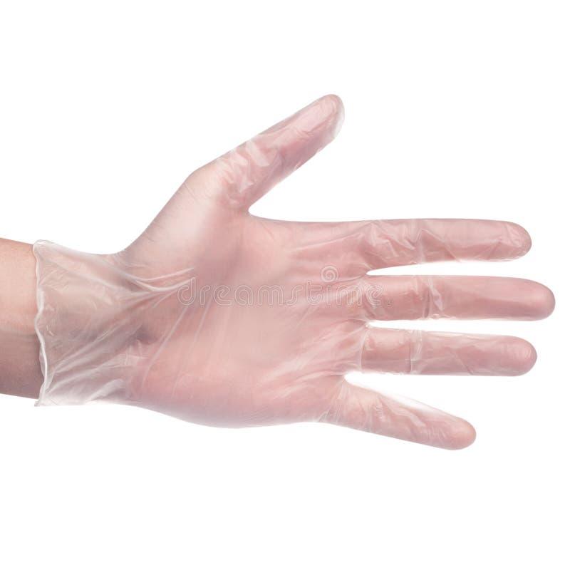 Handschuh an Hand auf wei?em medizinischem Hintergrund lizenzfreie stockfotografie