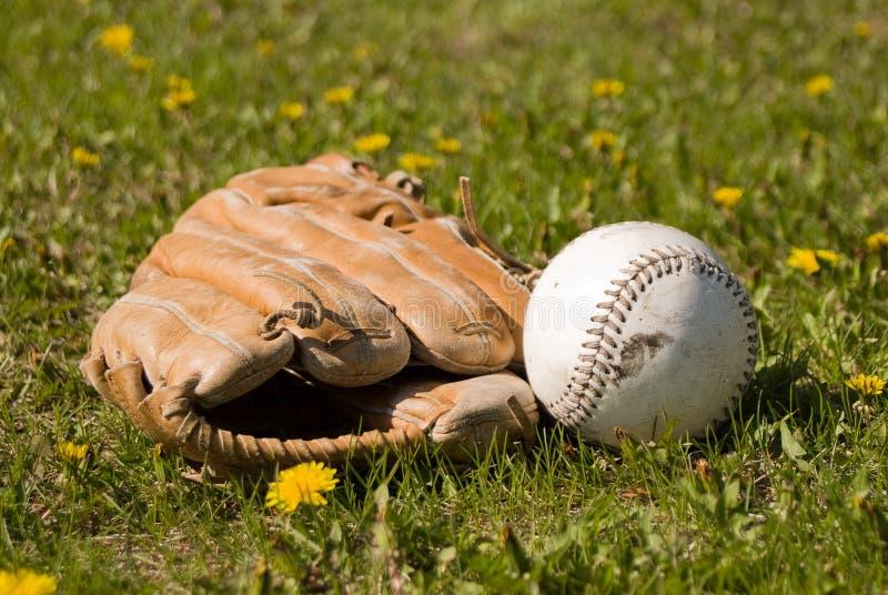 Handschuh und Softball stockfoto
