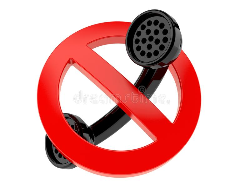 Handset with forbidden sign royalty free illustration