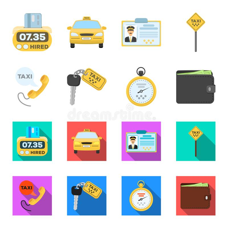 Handset with the inscription of a taxi, car keys with a key fob, a stopwatch with a fare, a purse with money, dollars. Taxi set collection icons in cartoon royalty free illustration