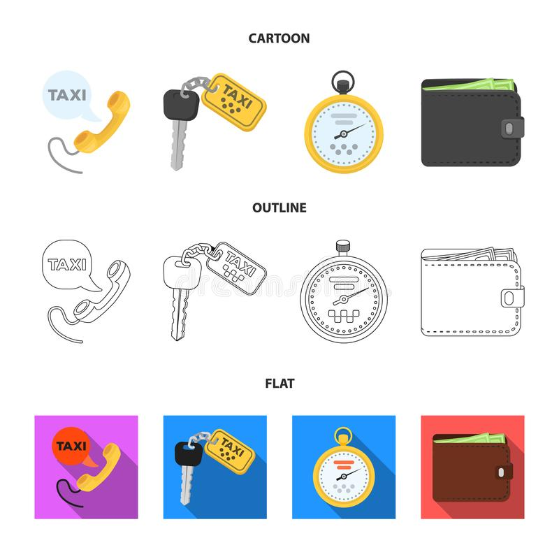 Handset with the inscription of a taxi, car keys with a key fob, a stopwatch with a fare, a purse with money, dollars. Taxi set collection icons in cartoon vector illustration
