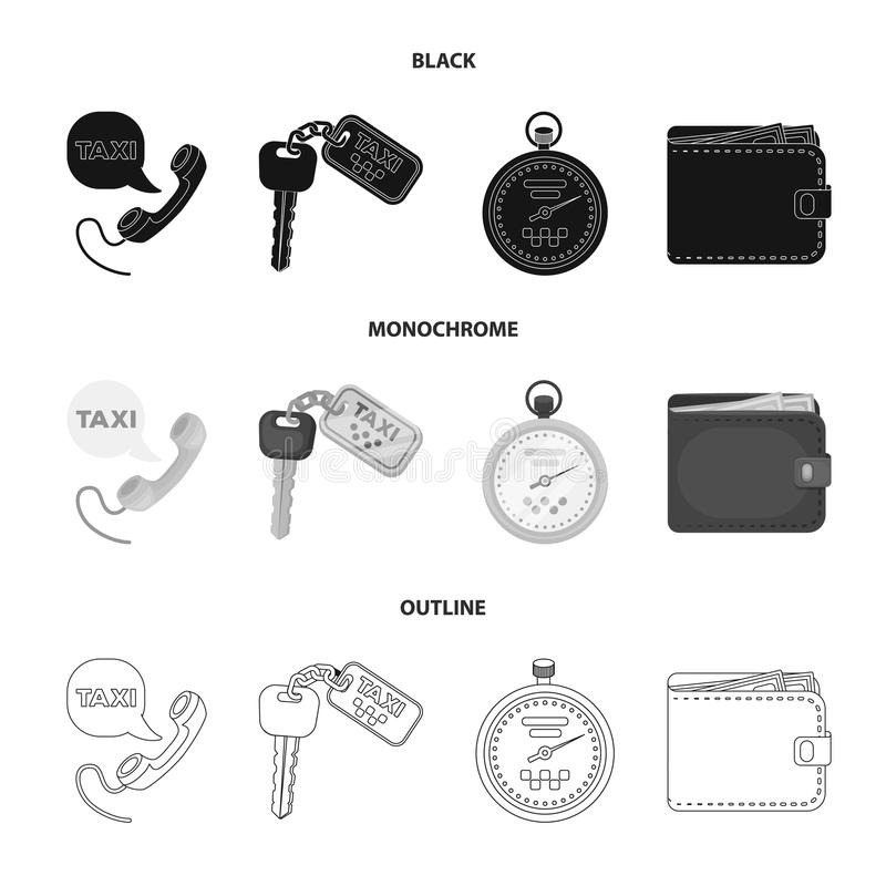 Handset with the inscription of a taxi, car keys with a key fob, a stopwatch with a fare, a purse with money, dollars. Taxi set collection icons in black stock illustration