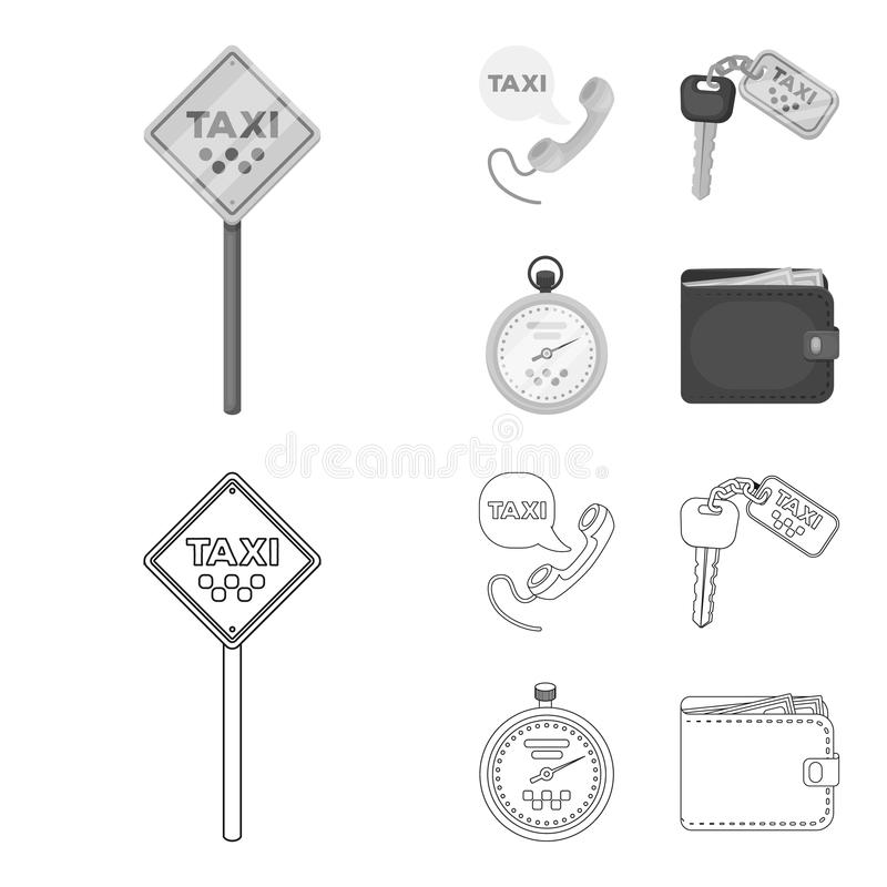 Handset with the inscription of a taxi, car keys with a key fob, a stopwatch with a fare, a purse with money, dollars. Taxi set collection icons in outline royalty free illustration