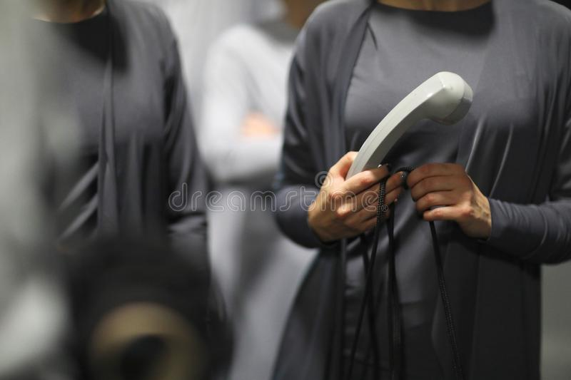 The handset of an old analog phone stock photos