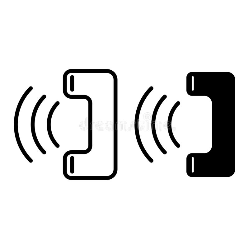 Handset telefonu pierścionków linia i glif ikona Telefon tomowa wektorowa ilustracja odizolowywająca na bielu Wywoławczy konturu  royalty ilustracja
