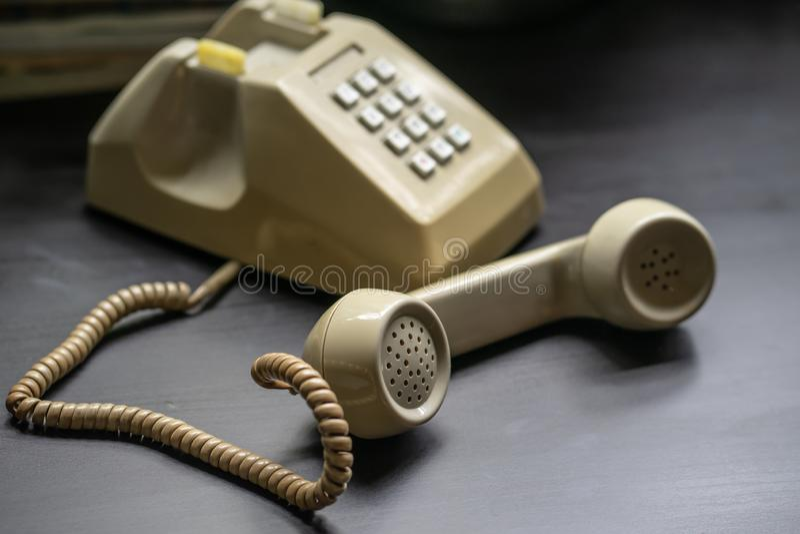 Handset of vintage telephone.Mid Century Modern Vintage Telephone .Rotary Phone stock photo