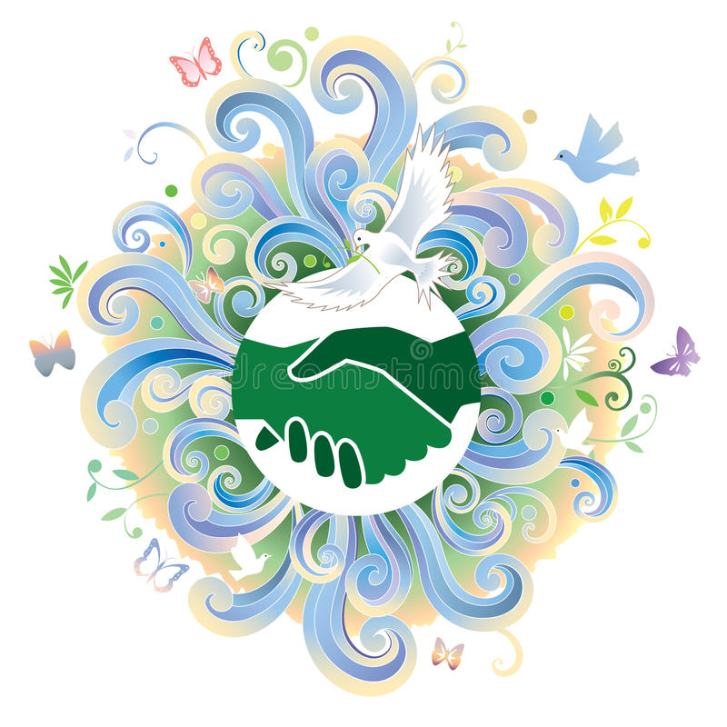 Handshake. Hands shake with scroll clouds in background stock illustration