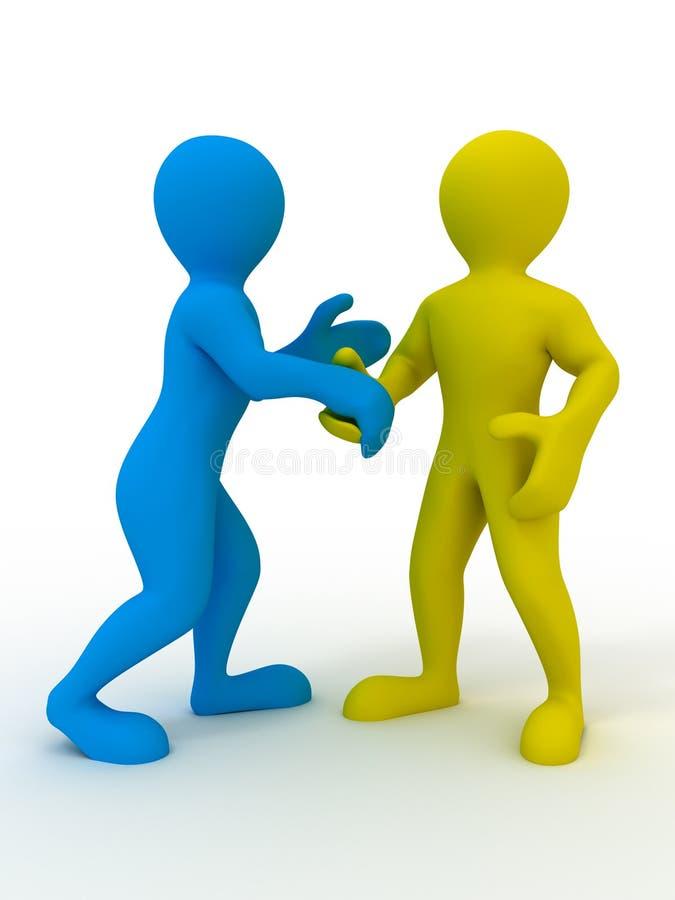 Handshake. On white background. 3d stock illustration