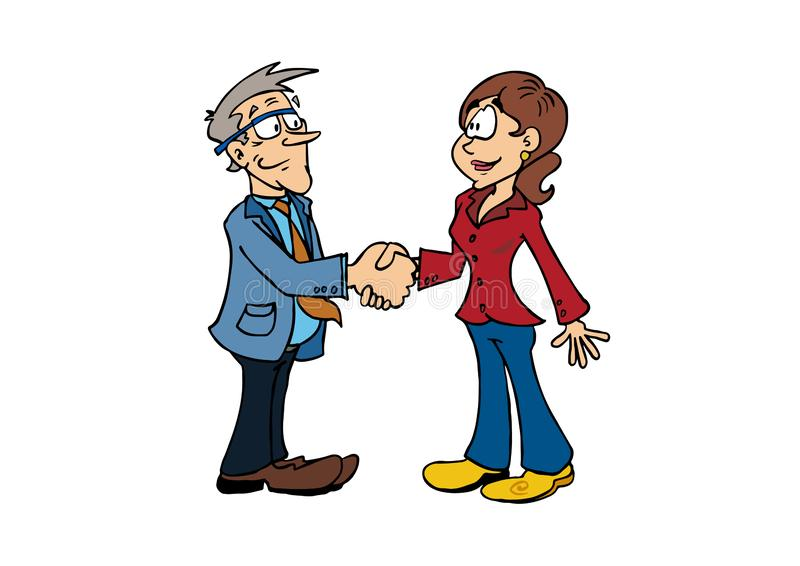Handshake senior man and middle aged woman vector illustration