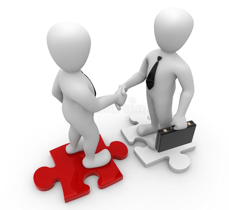 Handshake. 3d image, businessmens handshake on puzzle royalty free illustration