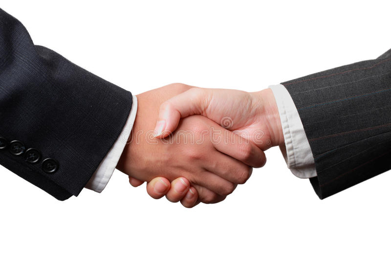 Handshake. Of a businessman and a businesswoman isolated on white royalty free stock images