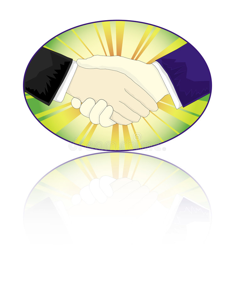 Handshake. Two people are shaking hands stock illustration