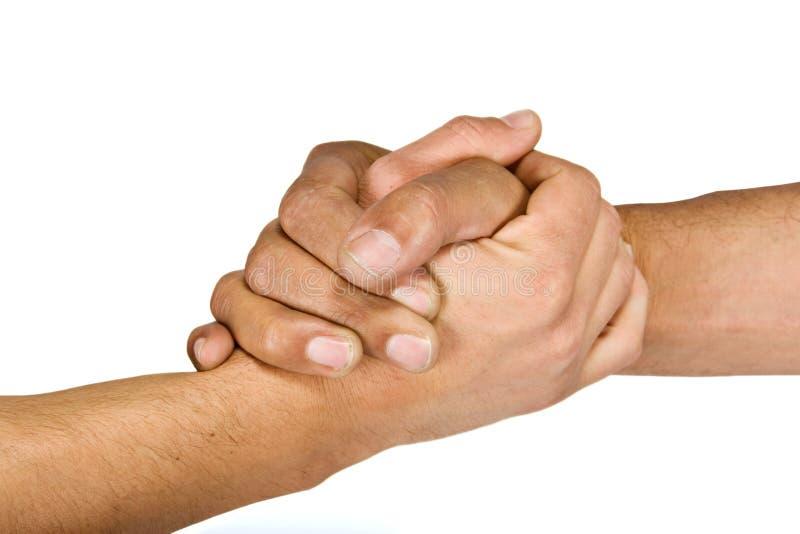 Handshake. Two man shaking hands more intimate gesture, camaraderie royalty free stock image