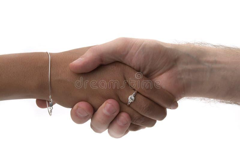 Handshake. On white backgroun royalty free stock image