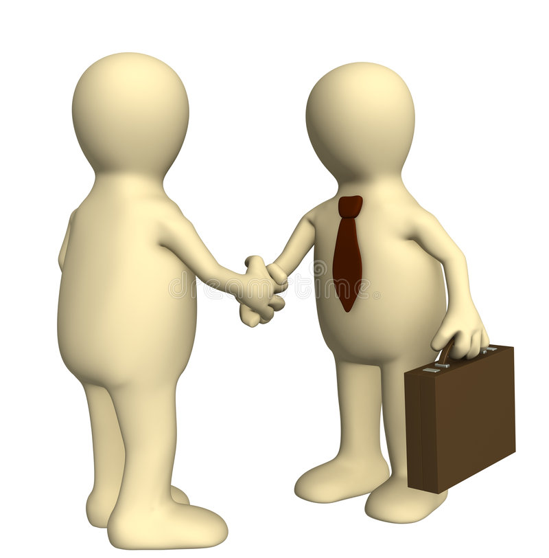 Handshake. Shake hand of two 3d stylized people . Objects over white royalty free illustration