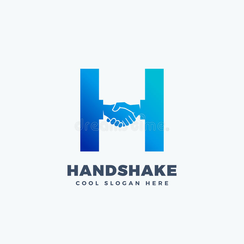 Handshake Abstract Vector Sign, Symbol or Logo Template. Hand Shake Incorporated in Letter H Concept. Isolated vector illustration