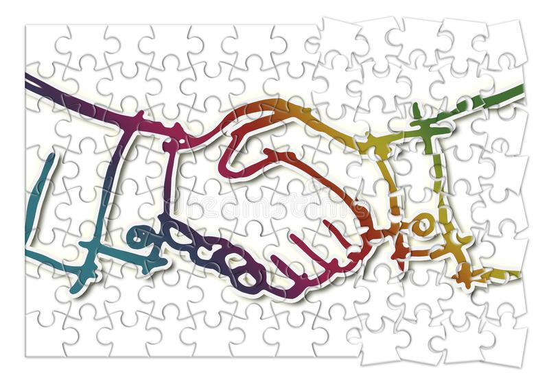 Handshake against a white background - concept image in jigsaw puzzle shape royalty free illustration