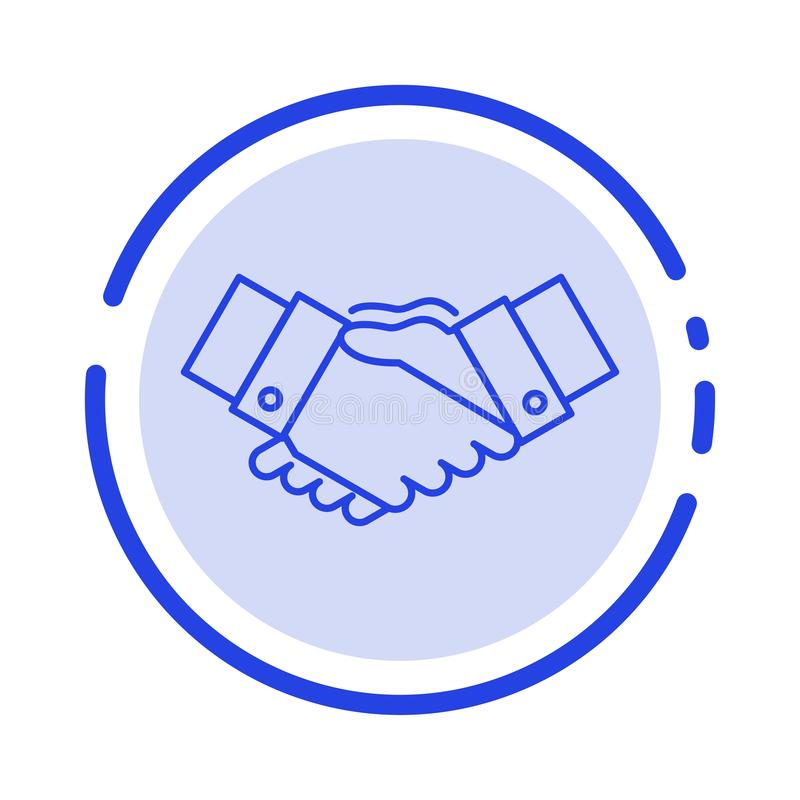 Handshake, Agreement, Business, Hands, Partners, Partnership Blue Dotted Line Line Icon royalty free illustration