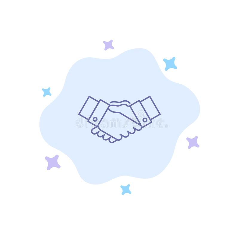 Handshake, Agreement, Business, Hands, Partners, Partnership Blue Icon on Abstract Cloud Background stock illustration