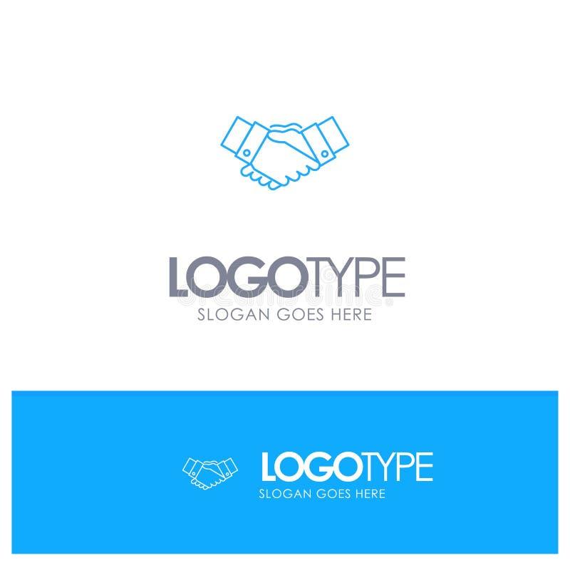 Handshake, Agreement, Business, Hands, Partners, Partnership Blue outLine Logo with place for tagline stock illustration