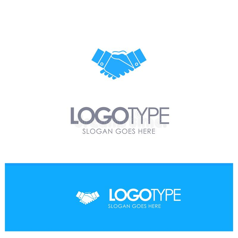Handshake, Agreement, Business, Hands, Partners, Partnership Blue Solid Logo with place for tagline stock illustration