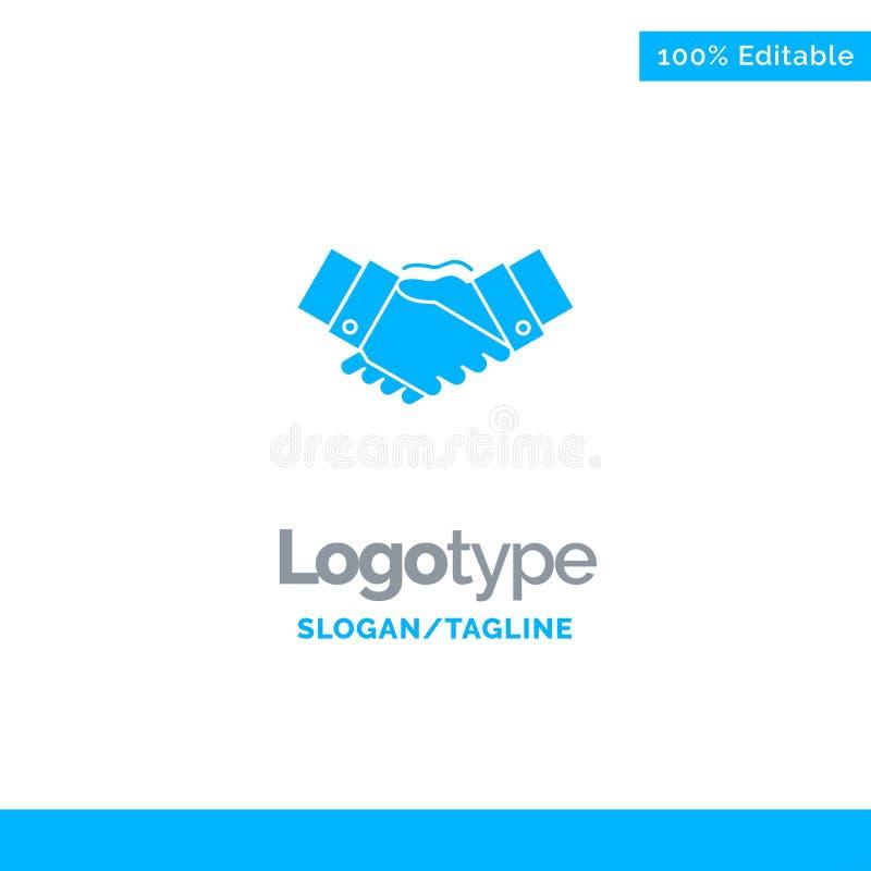 Handshake, Agreement, Business, Hands, Partners, Partnership Blue Solid Logo Template. Place for Tagline royalty free illustration