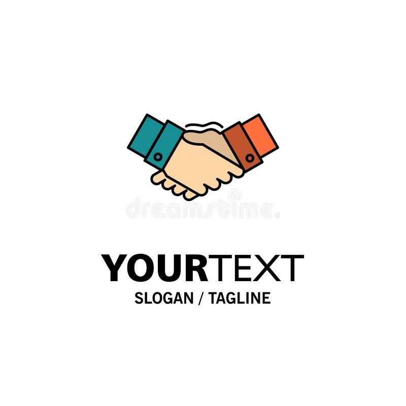 Handshake, Agreement, Business, Hands, Partners, Partnership Business Logo Template. Flat Color royalty free illustration