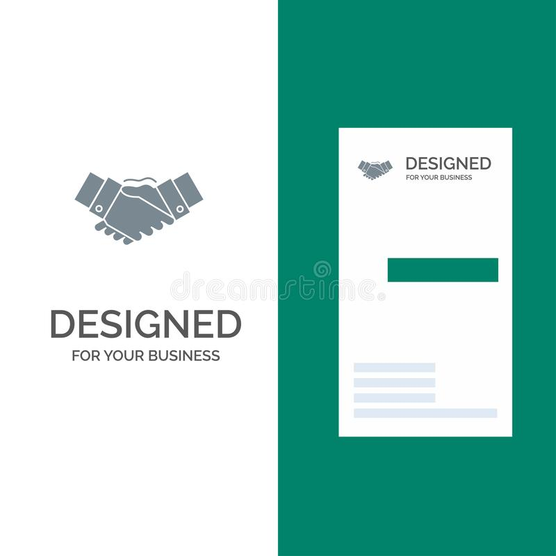 Handshake, Agreement, Business, Hands, Partners, Partnership Grey Logo Design and Business Card Template royalty free illustration