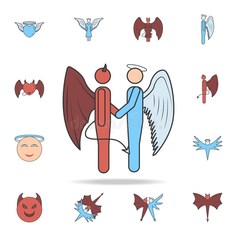 handshake of angel and demon color field outline icon. Detailed set of angel and demon icons. Premium graphic design. One of the vector illustration