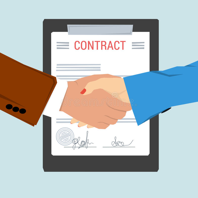 Handshake  On Background Contract Sheet Stock Illustration