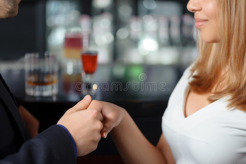 Handshake with a beautiful girl stock photos