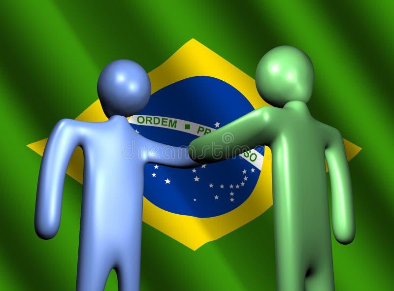 Handshake with Brazilian flag. Abstract people shaking hands with Brazilian flag illustration stock illustration