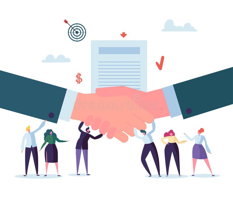 Handshake Business Agreement. Flat People Characters Signing Contract. Successful Partnership, Cooperation Concept. Vector illustration royalty free illustration