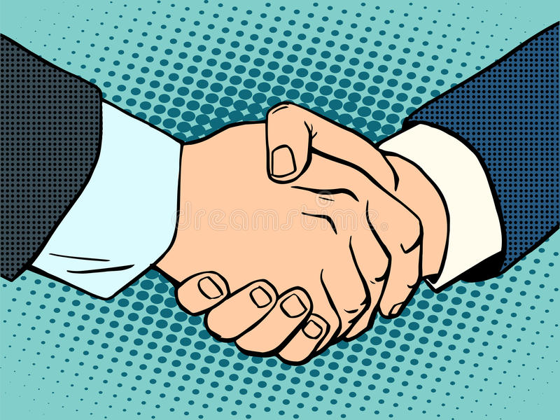 Handshake business deal contract. Business concept then art retro style vector illustration